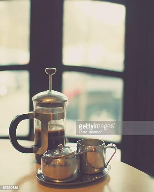 coffee press still life with cream & sugar