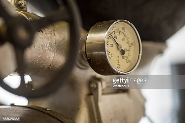 coffee roaster gas manometer - pressure gauge stock photos and pictures