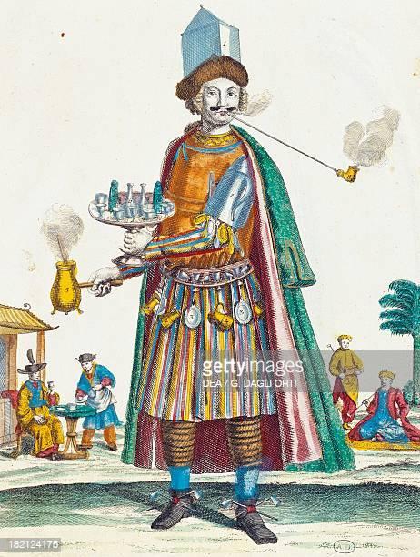 Coffee seller colour illustration France 17th century Paris Bibliothèque Des Arts Decoratifs