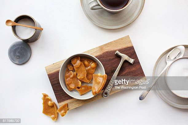 WASHINGTON DC Coffee service with a side of peanut brittle at Kinship photographed in Washington DC