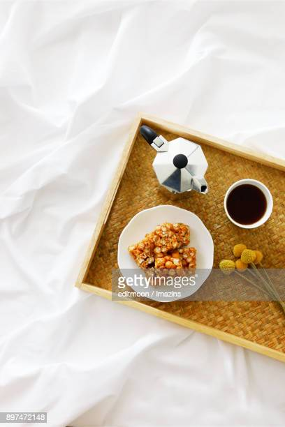 Coffee set on Bed