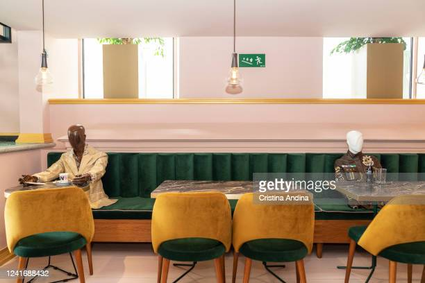Coffee shop 'La Fundación' uses mannequins to show the latest fashion trends from designer Inés Penelas while ensuring social distancing on June02...
