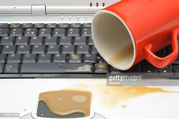 Coffee spill on a laptop computer keyboard