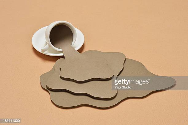 coffee spilling out from a coffee cup - spilling stock pictures, royalty-free photos & images