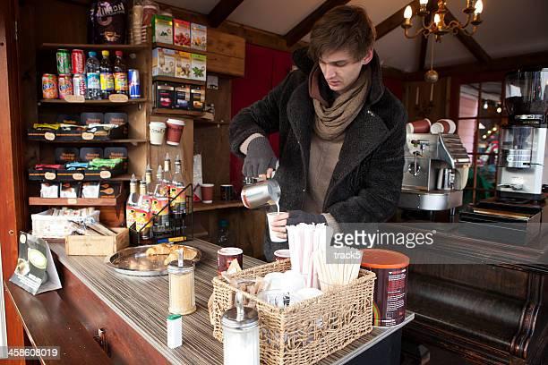 Kaffee-Marktstand, Camden Market, London.