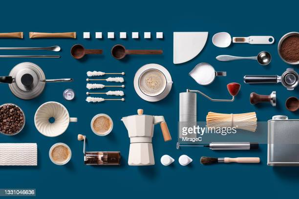 coffee supplies knolling flat lay - measuring spoon stock pictures, royalty-free photos & images