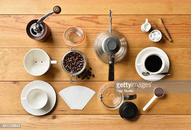 coffee supplies shot knolling style - sugar bowl crockery stock photos and pictures