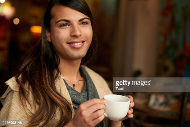 coffee takes your mind away... - gender fluid stock pictures, royalty-free photos & images