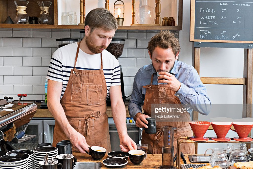 Coffee tasting in cafe : Stock Photo