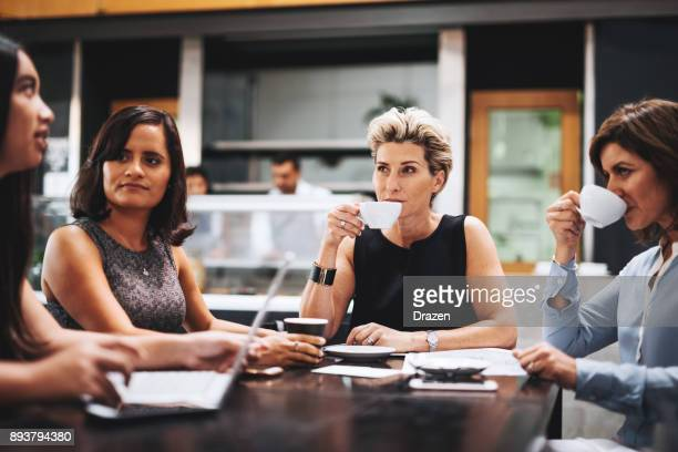 Coffee time for successful businesswomen and assistants