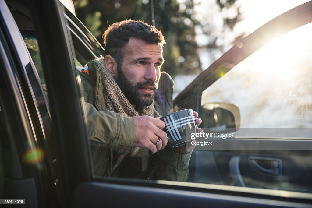Coffee time on the road : Stock Photo