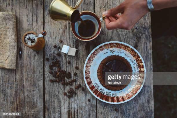 Coffee with home made chocolate cake