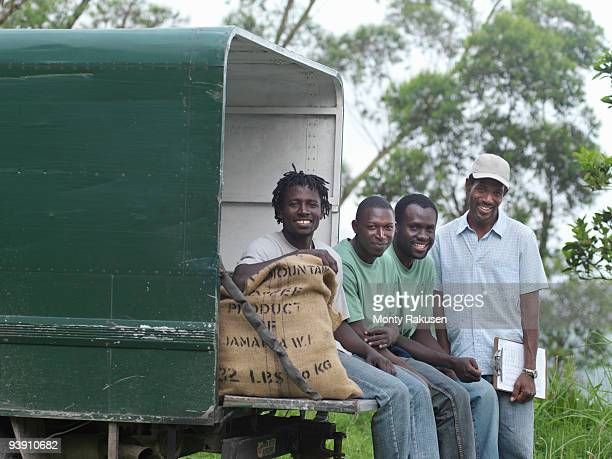 Coffee Workers Sitting On Truck