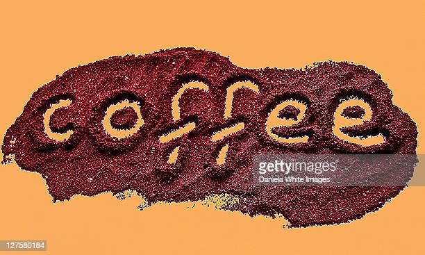 Coffee written on yellow background