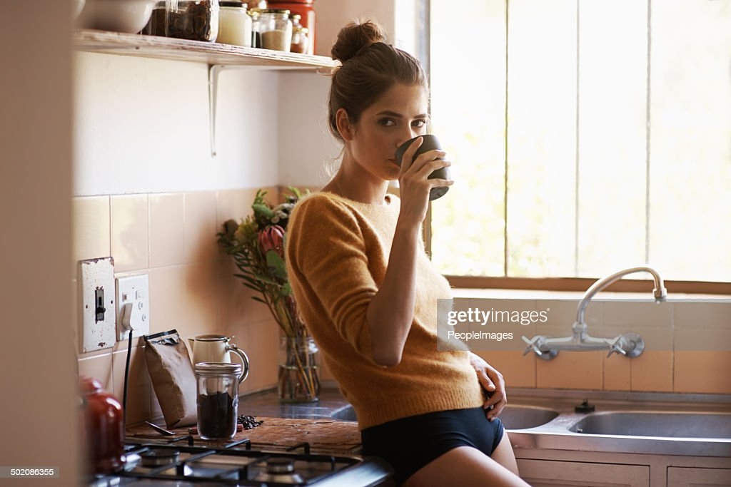 Coffee-fuelled morning thoughts : Stock Photo