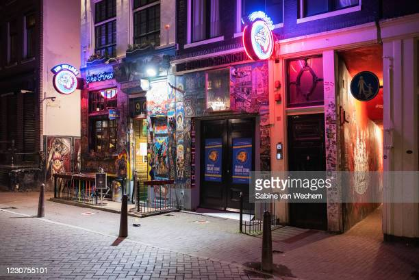 Coffeeshop along the red light district is closed on January 23, 2021 in Amsterdam, Netherlands. Following a majority vote by lawmakers to instate an...