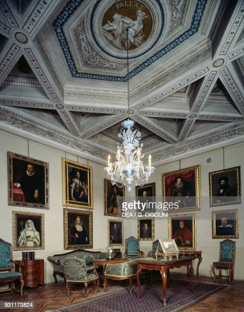 Coffered ceiling painted by Giuseppe Crevola e Giambattista Marconi Pallas room Palazzo D'Arco Mantua Lombardy Italy 18th century