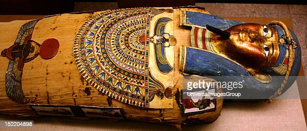 Coffin and Mummy of Irti-Rutja, Ptolemaic Period, 305-30 BC. Said to be from Akhmim. Painted, gessoed and gilded wood; linen; painted and gilded...