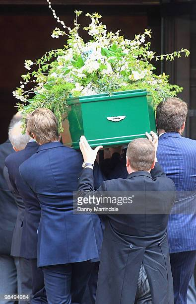 Coffin bearers carry the coffin of Christopher Cazenove at his funeral held at St Paul's Church in Covent Garden on April 16 2010 in London England