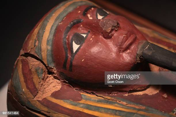 A coffin from Egypt is displayed at the Field Museum on March 13 2018 in Chicago Illinois The artifact is part of the new Mummies exhibit which opens...