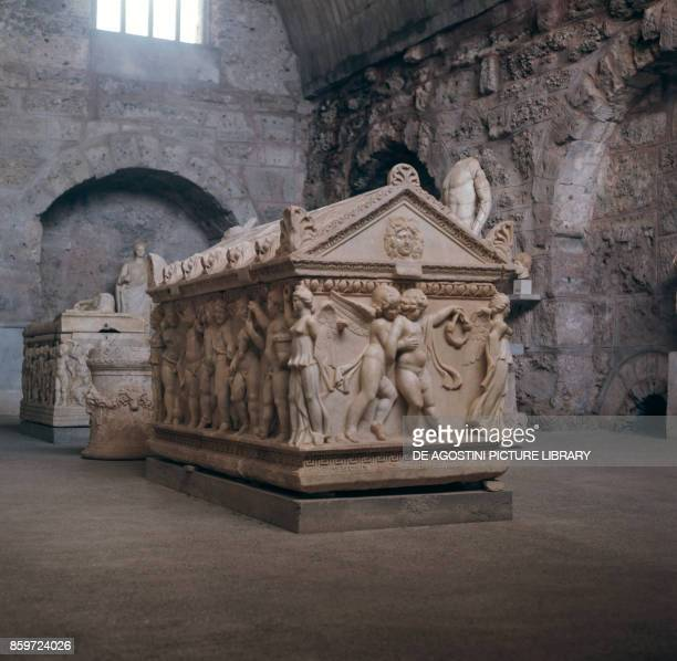 Coffin in Side ancient city of Pamphylia Turkey 7th century BC