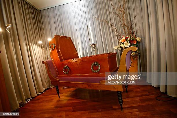 A coffin inspired by Belgian painter Rene Magritte creation 'Perspective Madame Recamier de David' and made by the coffin maker Bestattung Wien is...