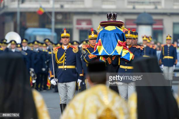 Coffin of King Mihael I of Romania brought from the Royal Palace Square to the Patriarchal Cathedral in Bucharest on December 16 2017 King Michael I...