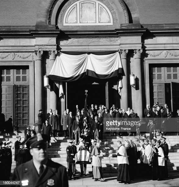 Coffin of President Kennedy and family on the steps of Cathedral St Matthew during the funeral on November 25 1963 in Washington DC United States