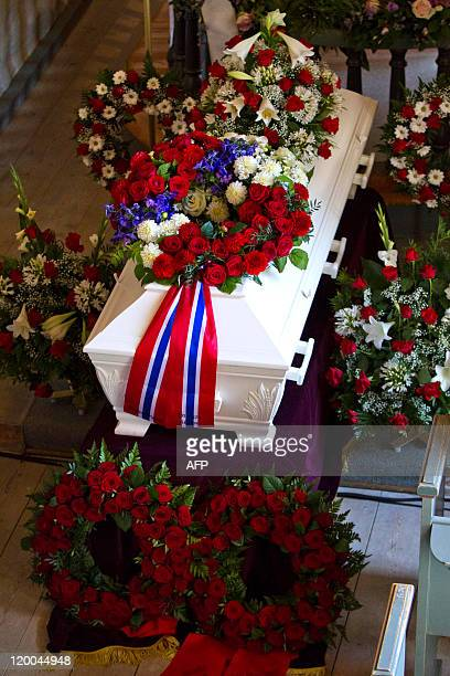Coffin with teh remains of Bano Abobakar Rashid is pictured during a funeral ceremony on July 29 2011 at Nesodden Church outside Oslo Bano Abobakar...