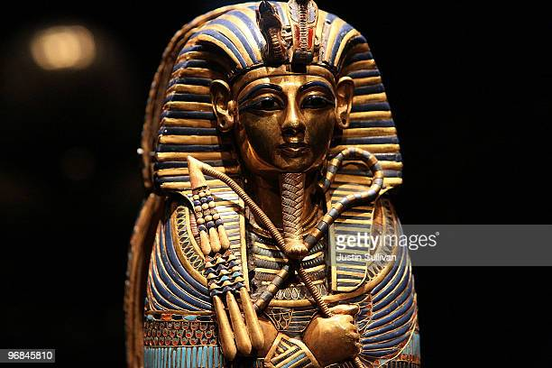 A coffinette for the viscera of Tutankhamun is displayed at the Tutankhamun and the Golden Age of the Pharaohs exhibition at the de Young Museum...