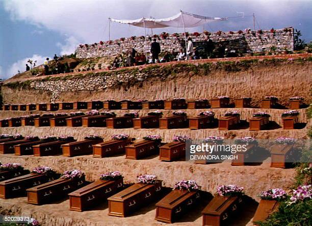 Coffins for 108 of the 113 passengers killed when a Thai Airways plane crashed near here 31 July await a mass burial 18 December 1992