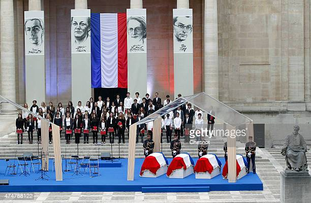 Coffins of four personalities French resistant Genevieve de GaulleAnthonioz French resistance fighters during World War II Germaine Tillion French...