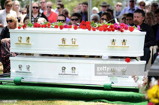 Coffins of mother and son killed in last week's flash floods on January 19 2011 in Toowoomba Australia Donna Maree Rice 43 and Jordan Rice 13 were...