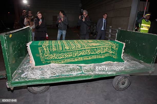 Coffins of Rabia El Moustaine and Zineb Ait Ssi who were killed on Istanbul nightclub terror attack are received by their relatives at Casablanca...
