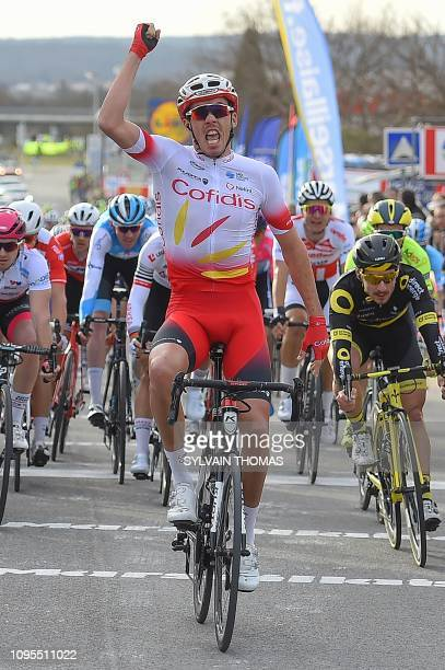 Cofidis team's French cyclist Christophe Laporte celebrates his victory as he crosses the finish line at the end of the 158 km second stage of the...