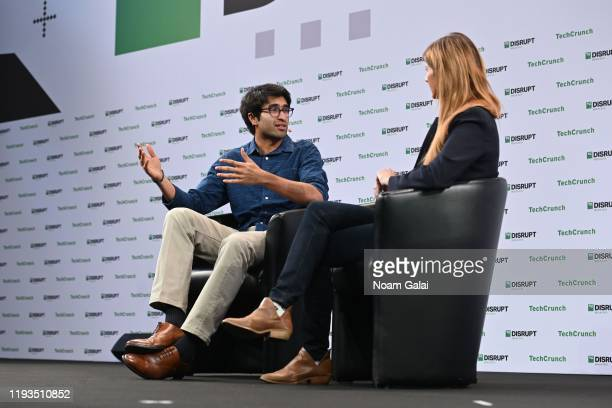 Co-founder amd CEO of Frontier Car Group Sujay Tyle and TechCrunch Senior Reporter Kirsten Korosec speak on stage at TechCrunch Disrupt Berlin 2019...