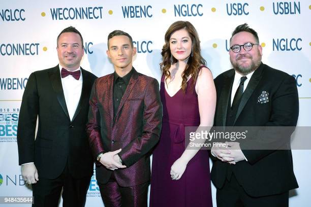 CoFounder and CEO Chance Mitchell Olympic figure skater Adam Rippon Singer Mandy Harvey and NGLCC CoFounder and President Justin Nelson attend the...