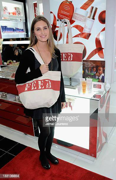 CoFounder and CEO of FEED Projects Lauren Bush Lauren poses for a photo at the Bloomingdale's 59th Street Store to support Clarins FEED 25 bag on...