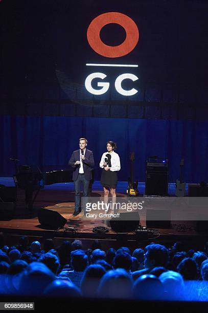 CoFounder and CEO of Global Citizen and Global Poverty Project Hugh Evans and comedian/actress Cecily Strong speak onstage during 2016 Global Citizen...
