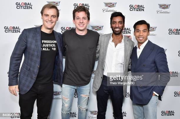 CoFounder and CEO of Global Citizen and Global Poverty Project Hugh Evans musician Charlie Puth Chief Financial Officer at Sanergy Sanj Sanampudi and...