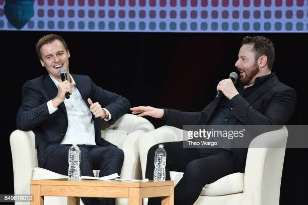CoFounder and CEO of Global Citizen and Global Poverty Project Hugh Evans and entrepreneur and philanthropis Sean Parker speak onstage during Global...