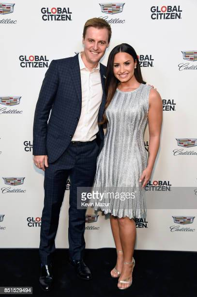 CoFounder and CEO of Global Citizen and Global Poverty Project Hugh Evans and Demi Lovato attend Global Citizen Cadillac in Concert The Accelerator...
