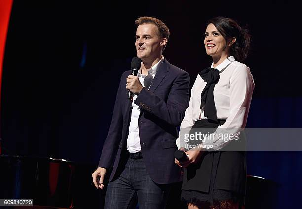 CoFounder and CEO of Global Citizen Hugh Evans and comedian Cecily Strong speak onstage during Global Citizen The World On Stage at NYU Skirball...
