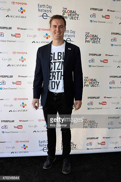 Co-Founder and CEO of Global Poverty Project Hugh Evans poses backstage during Global Citizen 2015 Earth Day on National Mall to end extreme poverty...