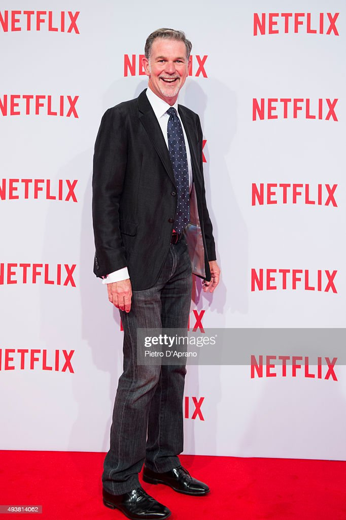 Co-founder and CEO of Netflix Reed Hastings attends the red carpet for the Netflix launch at Palazzo Del Ghiaccio on October 22, 2015 in Milan, Italy.