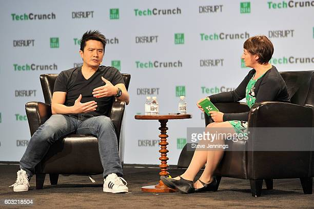 Co-Founder and CEO of Razer Min-Liang Tan and moderator Ingrid Lunden speak onstage during TechCrunch Disrupt SF 2016 at Pier 48 on September 12,...