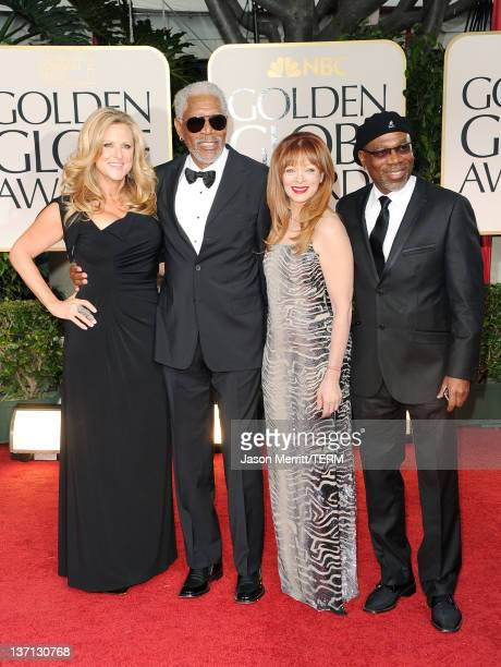Cofounder and CEO of Revelations Entertainment Lori McCreary actor Morgan Freeman Frances Fisher and actor Alfonso Freeman arrives at the 69th Annual...