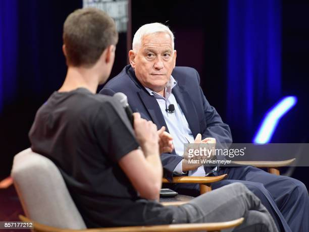 CoFounder and CEO of Snap Inc Evan Spiegel and President and CEO of the Aspen Institute Walter Isaacson speak onstage during Vanity Fair New...