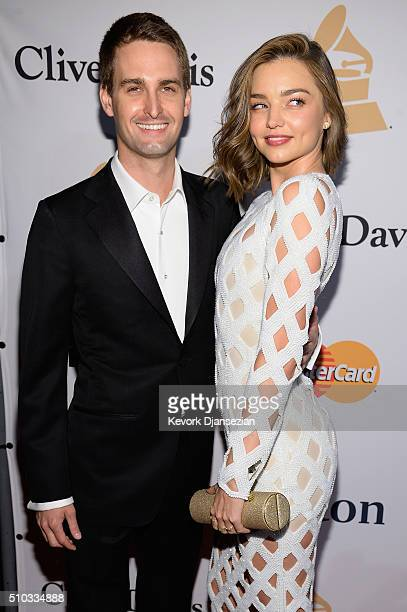 Co-founder and CEO of Snapchat Evan Spiegel and model Miranda Kerr attend the 2016 Pre-GRAMMY Gala and Salute to Industry Icons honoring Irving Azoff...
