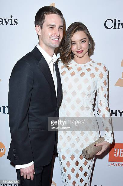 Cofounder and CEO of Snapchat Evan Spiegel and model Miranda Kerr attend the 2016 PreGRAMMY Gala and Salute to Industry Icons honoring Irving Azoff...